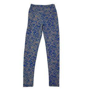LULAROE Blue Tan Tween Leggings